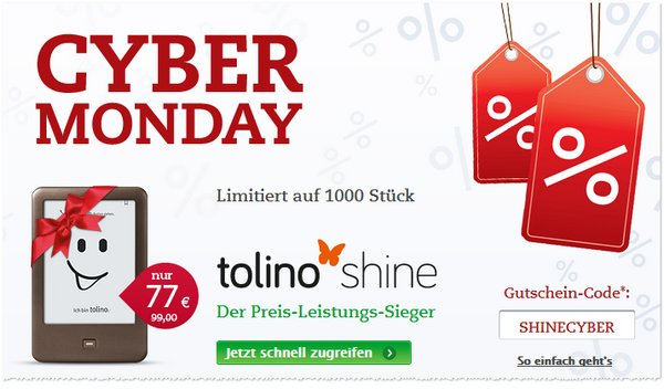 Tolino Shine günstiger als Cyber Monday Angebot bei Thalia