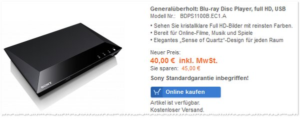 Sony BDP S1100 im Sony Outlet