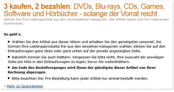 Amazon 3 für 2 Aktion