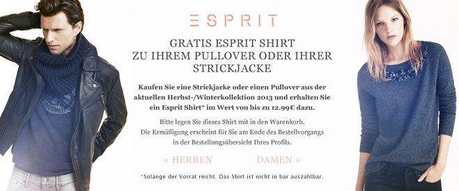 Amazon-Aktion Esprit: 15 € Gutschein + Esprit-Shirt gratis
