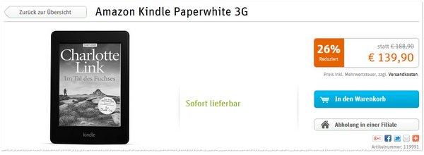 Amazon Kindle Paperwhite 3G bei Gravis