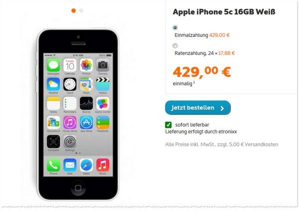 Apple iPhone 5C ohne Vertrag bei Simyo