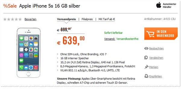 Apple iPhone 5S ohne Vertrag beim Cyberport Weekend Deal