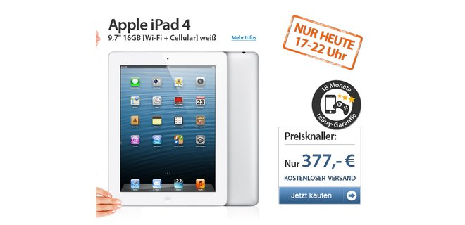 apple ipad 4 wifi 4g 16gb md522fd a f r 349. Black Bedroom Furniture Sets. Home Design Ideas