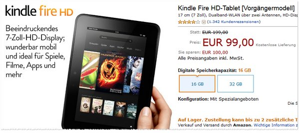 Kindle Fire HD 2012 günstig