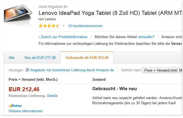 Lenovo Yoga Tablet 8 Zoll