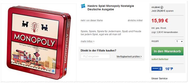 Monopoly Nostalgie in der Blechbox bei Kaufhauf auf 15,99 € reduziert