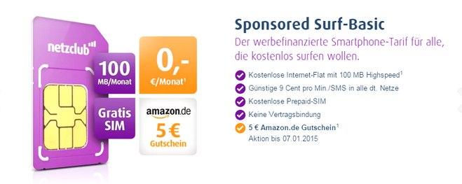 netzclub SIM-Karte kostenlos + 5 € Amazon-Gutschein