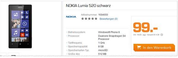 Nokia Lumia 520 ohne Vertrag im Online-Shop von Saturn
