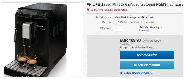 Philips Saeco Minuto HD 8761/01 Kaffeevollautomat generalüberholt für 189 €