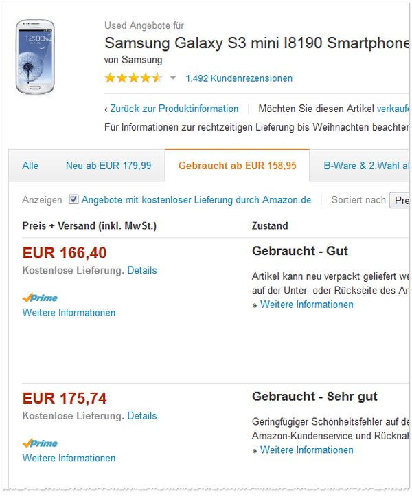 Samsung Galaxy S3 mini ohne Vertrag bei den Amazon Warehouse Deals