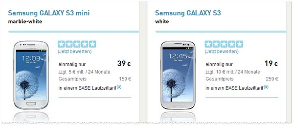 Samsung Galaxy S3 vertragsfrei bei BASE