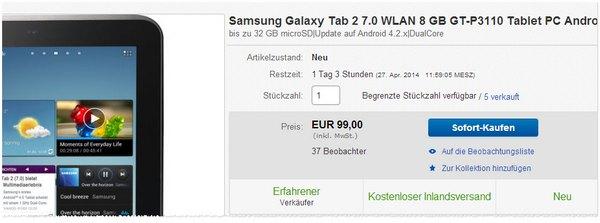 Samsung Galaxy Tab 2 Preis