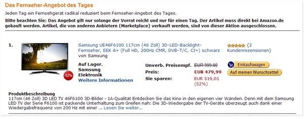 Samsung UE46F6170 bei Amazon