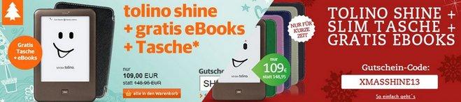 Tolinoe Shine günstig mit Tasche + Büchergutschein