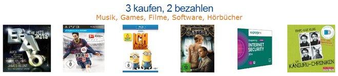 Amazon 3 kaufen 2 bezahlen Aktion