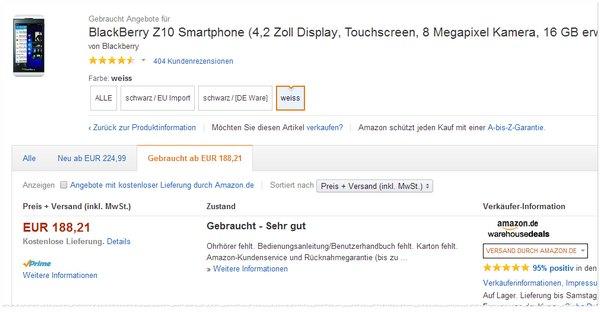Blackberry Z10 ohne Vertrag bei Amazon