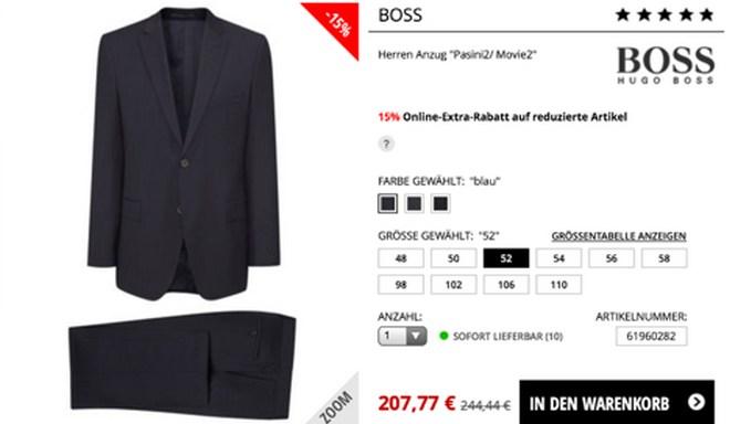 BOSS Anzug günstig kaufen