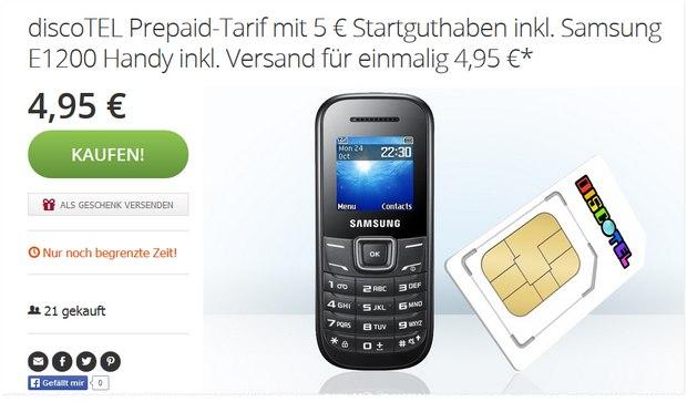 discoTEL Prepaid + Samsung-Handy bei Groupon