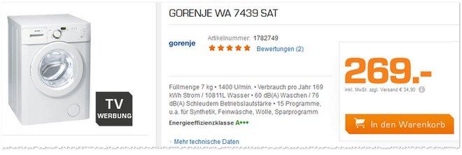 Gorenje WA 7439 SAT TV-Werbung