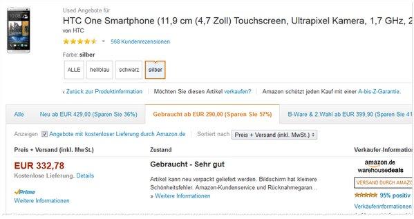 HTC One Angebot ohne Handyvertrag