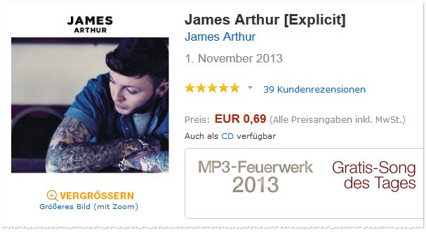 James Arthur Album als Amazon Download