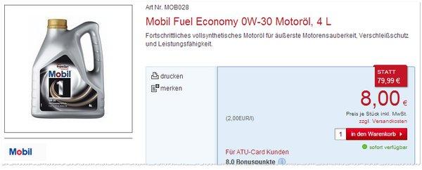 Mobil Fuel Economy 0W-30 Motoröl