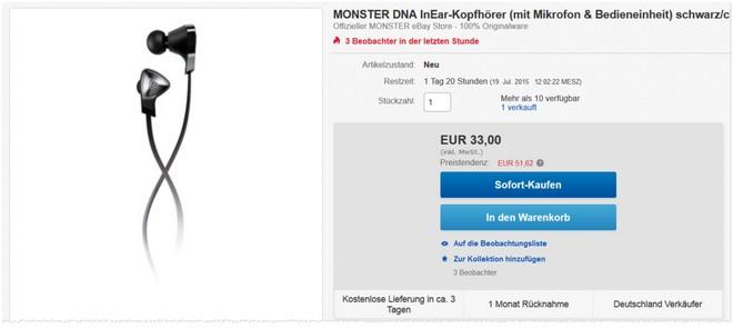 Monster DNA In Ear Kopfhörer Angebot