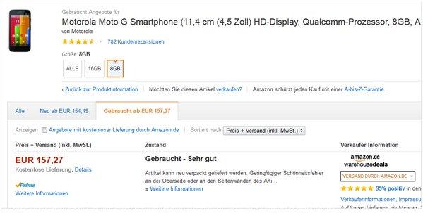 Motorola Moto G ohne Vertrag gebraucht günstiger