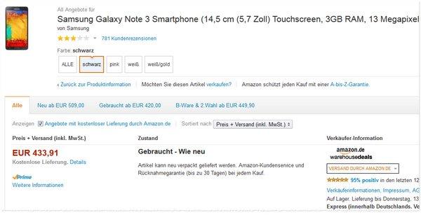 Samsung Galaxy Note 3 gebraucht