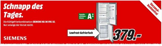Kühl-Gefrier-Kombination Siemens KG36VVL32 als Media Markt Schnapp des Tages am 28.8.2015 für 379 €