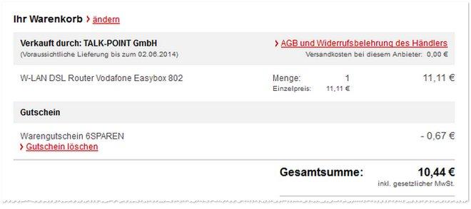 Vodafone Easybox 802 Preis