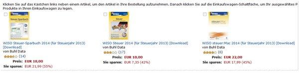 WISO Steuer-Software-Downloads günstig bei Amazon