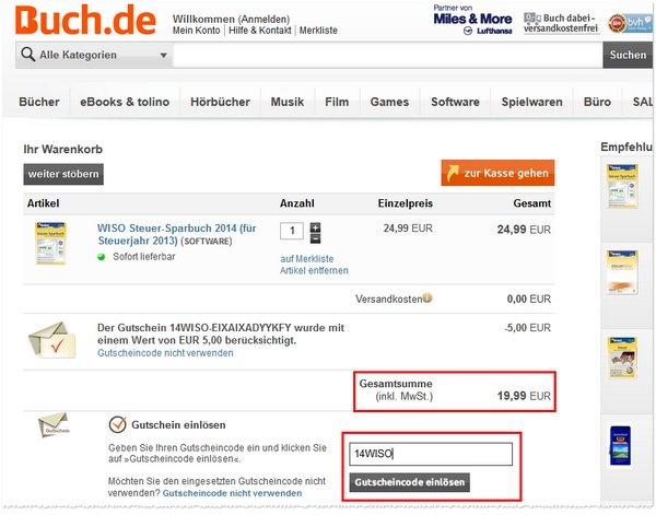 WISO Steuer-Sparbuch 2014 Gutschein