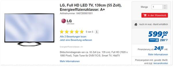 LG 55LN5758 im Real Prospekt für 599 €