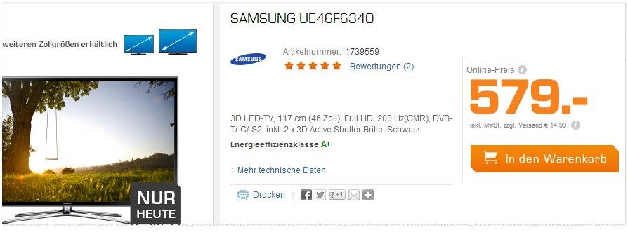 Samsung UE46F6340 in der Saturn-Werbung
