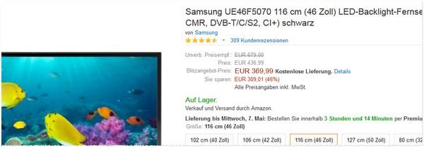Samsung UE46F5070 günstiger