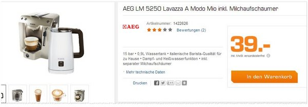 AEG LM 5250 mit Milchaufschäumer