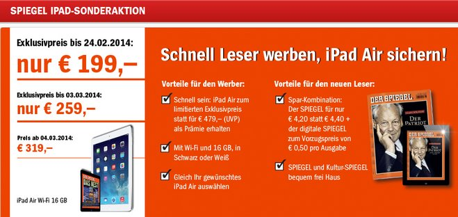 Apple iPad Air Spiegel Abo
