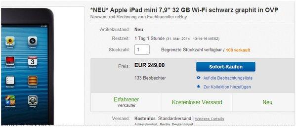 Apple iPad mini Preis bei eBay