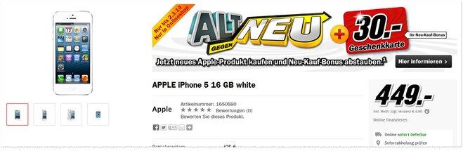 Apple iPhone 5 ohne Vertrag plus Geschenkkarte