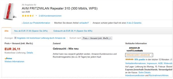 AVM Fritz!Box WLAN-Repeater 310