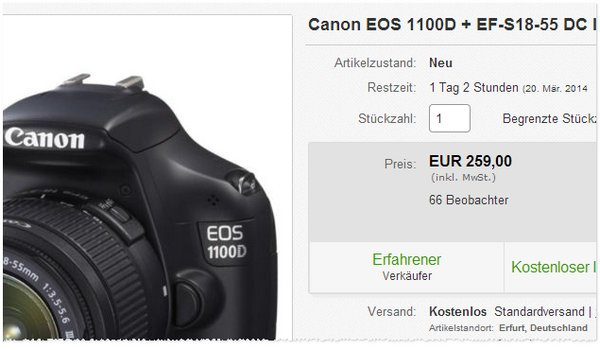 Canon EOS 1100 D im Redcoon Outlet