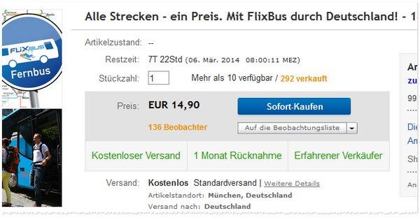 Günstiges Flixbus-Ticket: Nur 14,90 € bei eBay