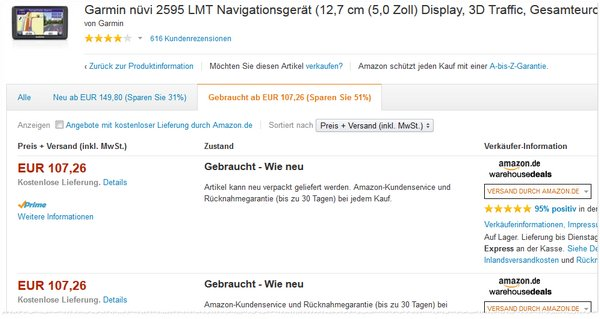 Garmin nüvi 2595 LMT bei den Amazon Warehouse Deals