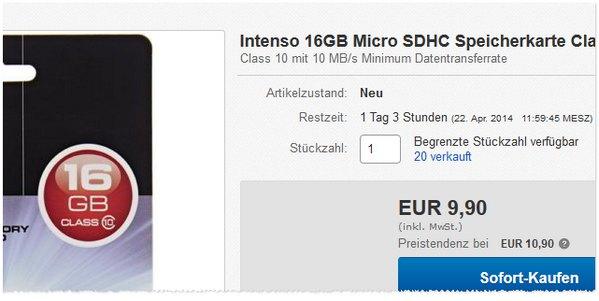 Intenso Speicherkarte mit 16 GB
