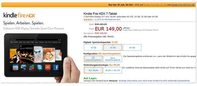 Kindle Fire HDX günstiger