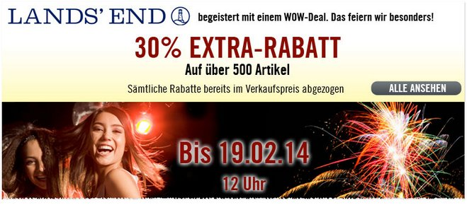 Lands End Outlet: 30% Extra-Rabatt bis 19.2.2014, 12 Uhr