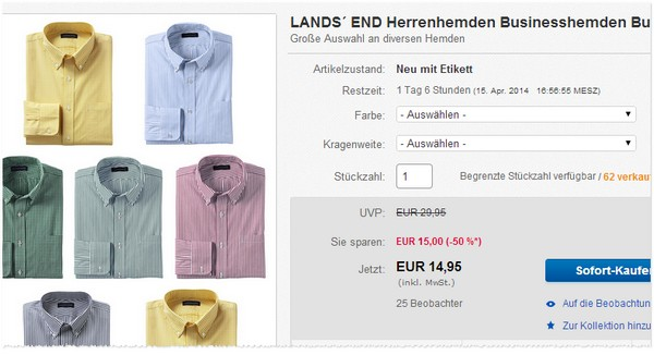 Lands End Hemden im Outlet