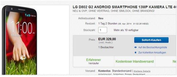 LG G2 Preis ohne Vertrag